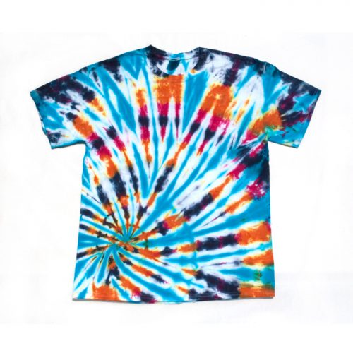 Blue Orange Purple Spiral Large Tie Dye T-Shirt