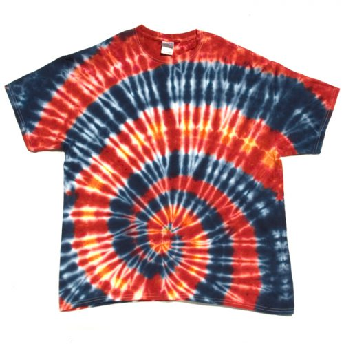 Red and Blue Spiral Tie Dye T-Shirt XL