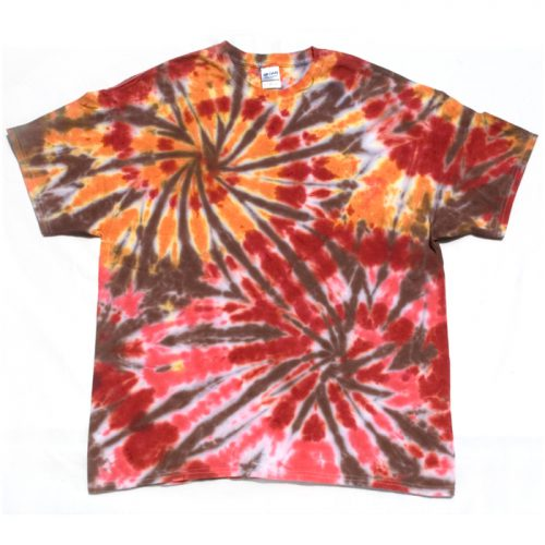 Orange and Strawberry Double Spiral Tie Dye T Shirt XL