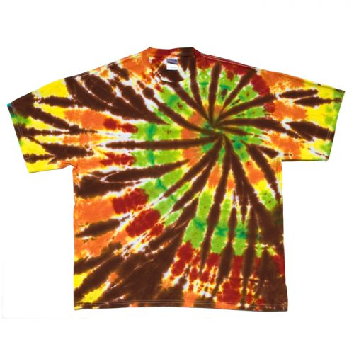 X Brown Green and Red Spiral Tie Dye T Shirt XL