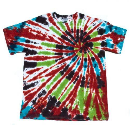 Red Green Blue and Black Large Tie Dye T Shirt