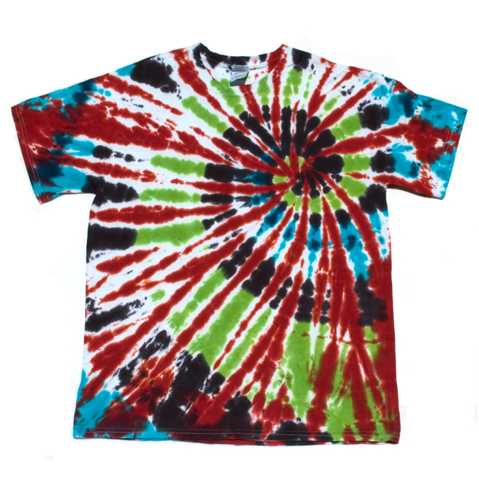 Red green blue and black large tie dye t shirt dark star for Black and blue tie dye t shirts