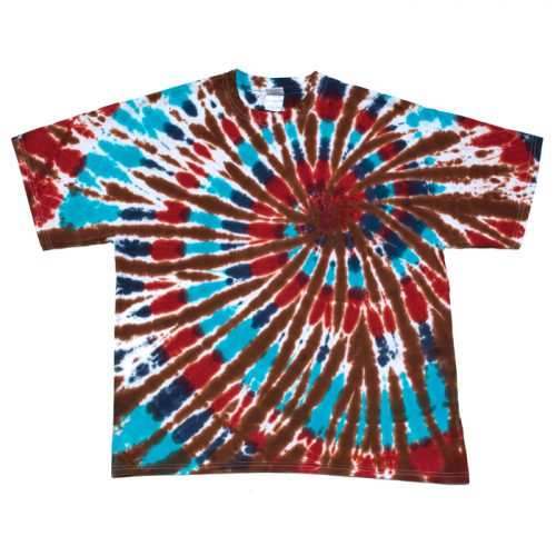 Red Blue and Chocolate Spiral Tie Dye T Shirt XL