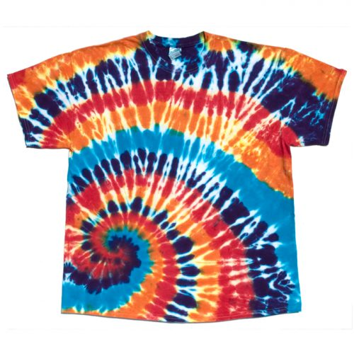 Orange Blue and Red Spiral Tie Dye T Shirt XL