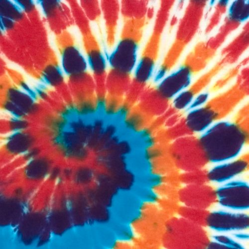 Orange Blue and Red Spiral Tie Dye T Shirt XL