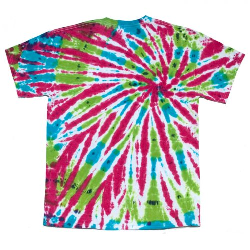 Hot Pink Turquoise and Green Tie Dye T Shirt Large