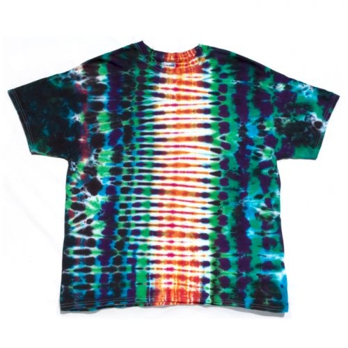 Orange & Green Tire Track Tie Dye T Shirt XL