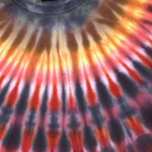 Collar Tie Dye in Red Gray & Yellow Large