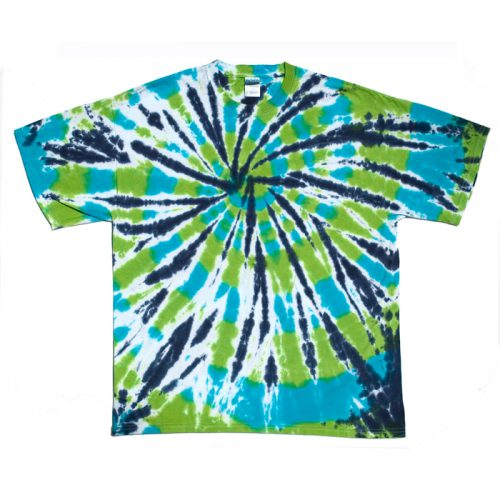 Blue and Green Spiral Tie Dye XL