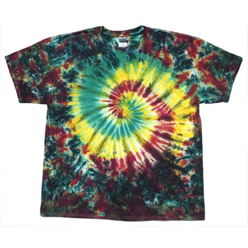 Rasta Jungle Spiral & Crumple XL Tie Dye T-Shirt