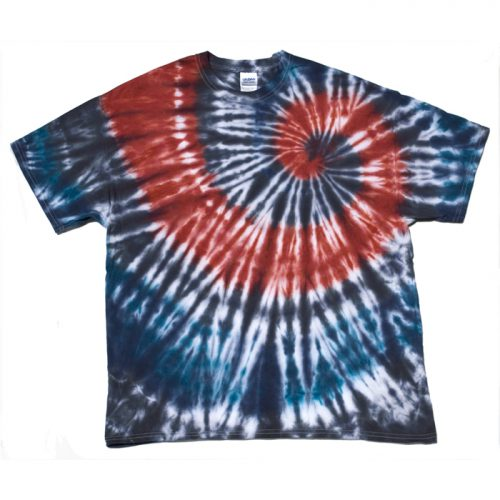 US Blues and Red Spiral Tie Dye XL