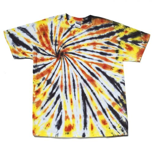 "Orange, Black and Yellow ""Thin Sunburst"" Large Tie Dye"