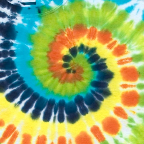 Bright Orange, Lime & Turquoise Spiral XL Tie Dye T-Shirt