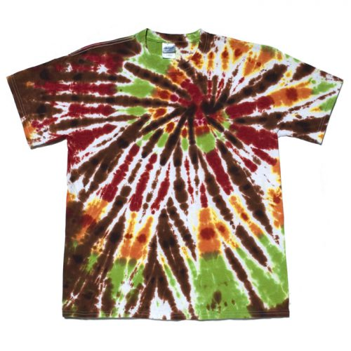 Chocolate, Orange & Lime Spiral Tie Dye T-Shirt L